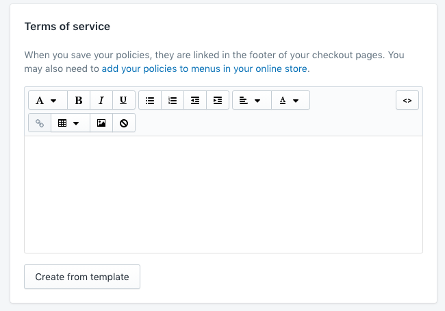 Screenshot of terms on service in Shopify