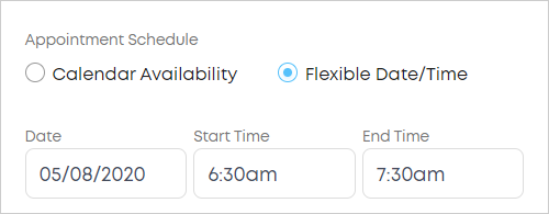 LawTap book client appointment using Flexible Date/Time option