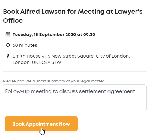 LawTap book client appointment Book Appointment Now button