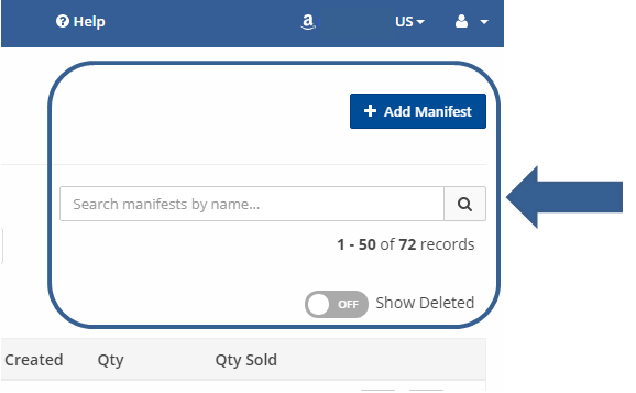 Add, search and view / restore deleted SellerChamp marketplace manifest