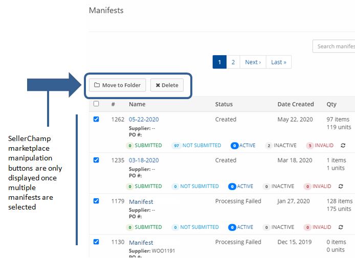 Bulk delete and relocate SellerChamp marketplace manifests