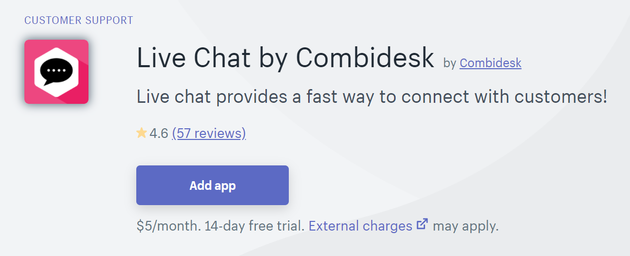 shopify live chat integration