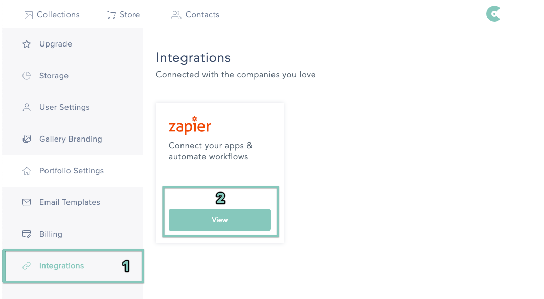 Connecting Zapier in CloudSpot under account settings.