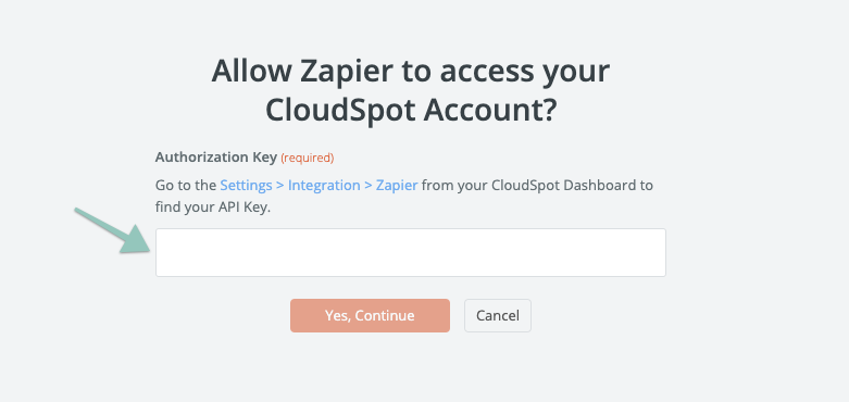 Adding in an API token to Zapier to connect CloudSpot.