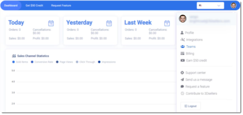 3dsellers dashboard highlighting teams link in menu