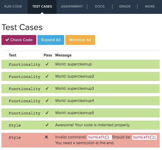 Image showing Test Cases tab and check code button.