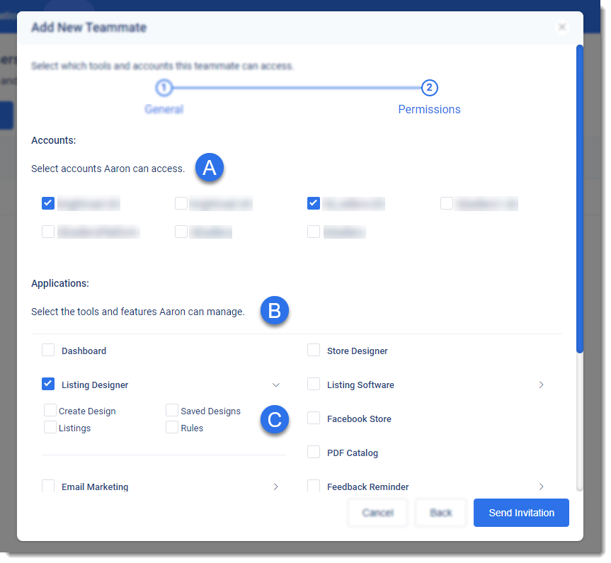 3dsellers add teammate pop up step 2, permissions to accounts, tools, and features for ebay VA, freelancers, and employees