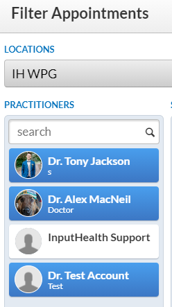 Search bar for practitioners in the schedule