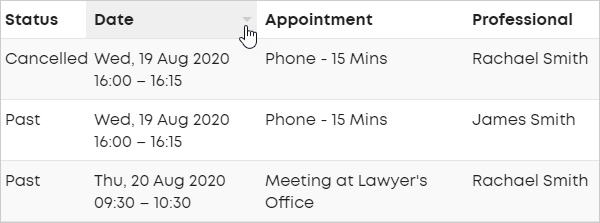 LawTap Firm Dashboard - Sort appointments