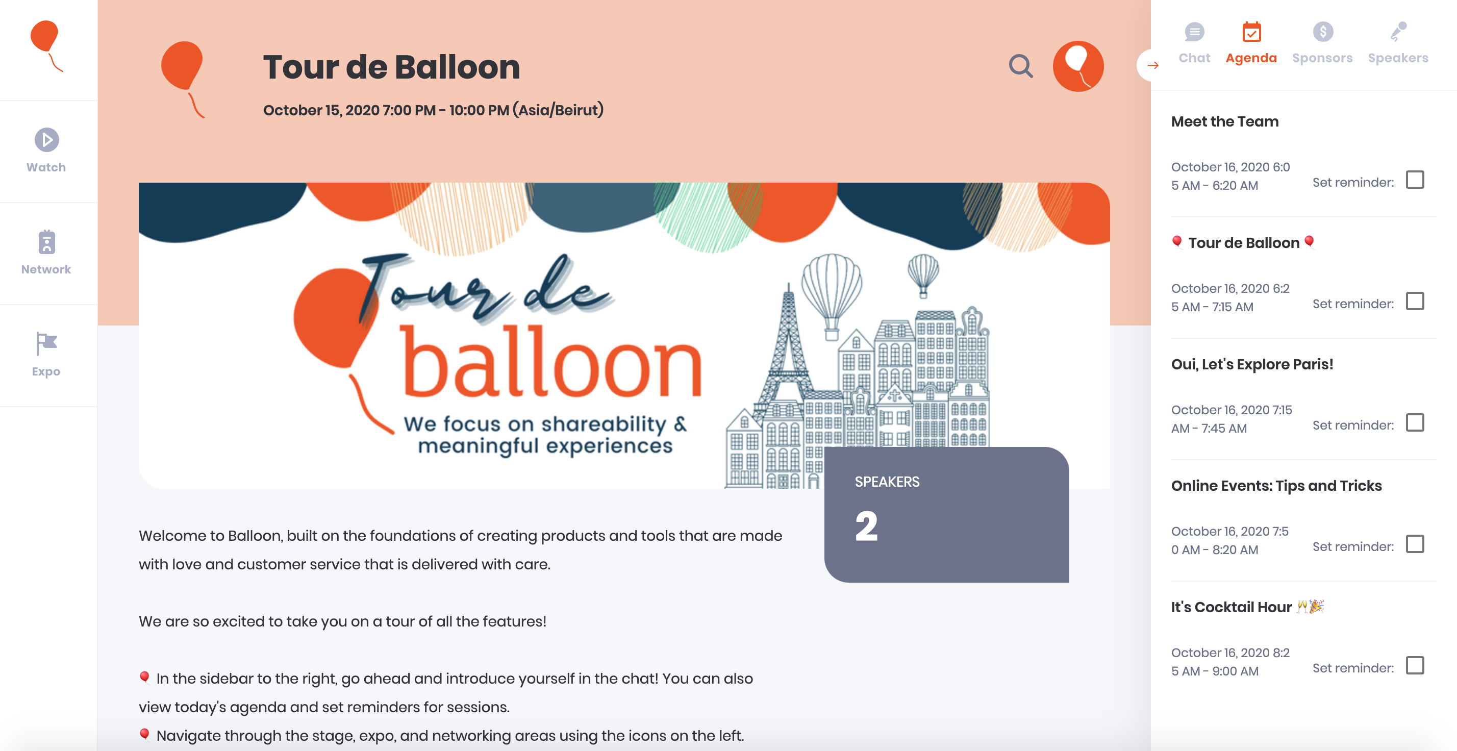 Select a color for your Balloon event