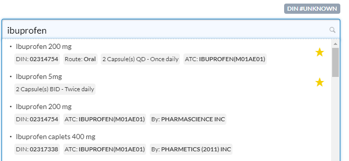 Medication Search Additional Values