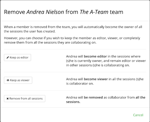 Remove a member from your team
