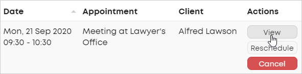 LawTap Firm Dashboard - View appointment action