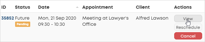 LawTap View pending appointment action