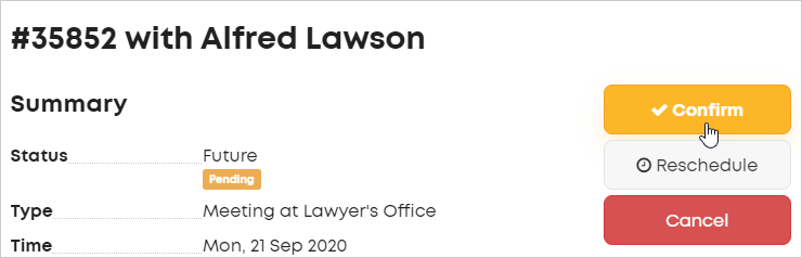 LawTap Confirm appointment action