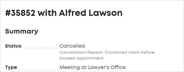 LawTap cancelled appointment in Summary section