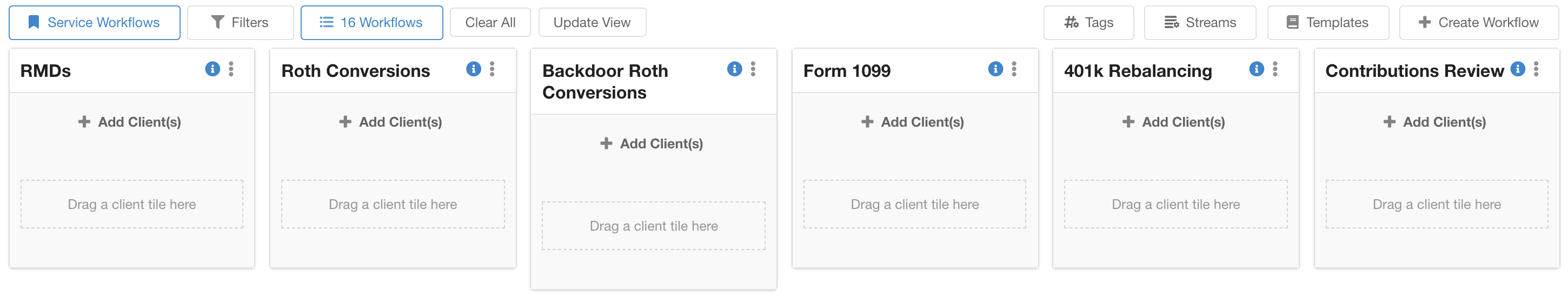 Service Workflows make it possible to create high-level structures to organize and keep track of client to-dos in Hubly