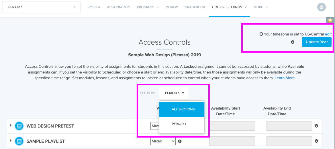 Drop down menu on access controls page toggles between sections