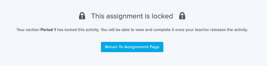 This Assignment is Locked message with lock icons displayed