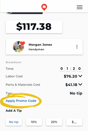 Apply a Promo Code to a Job