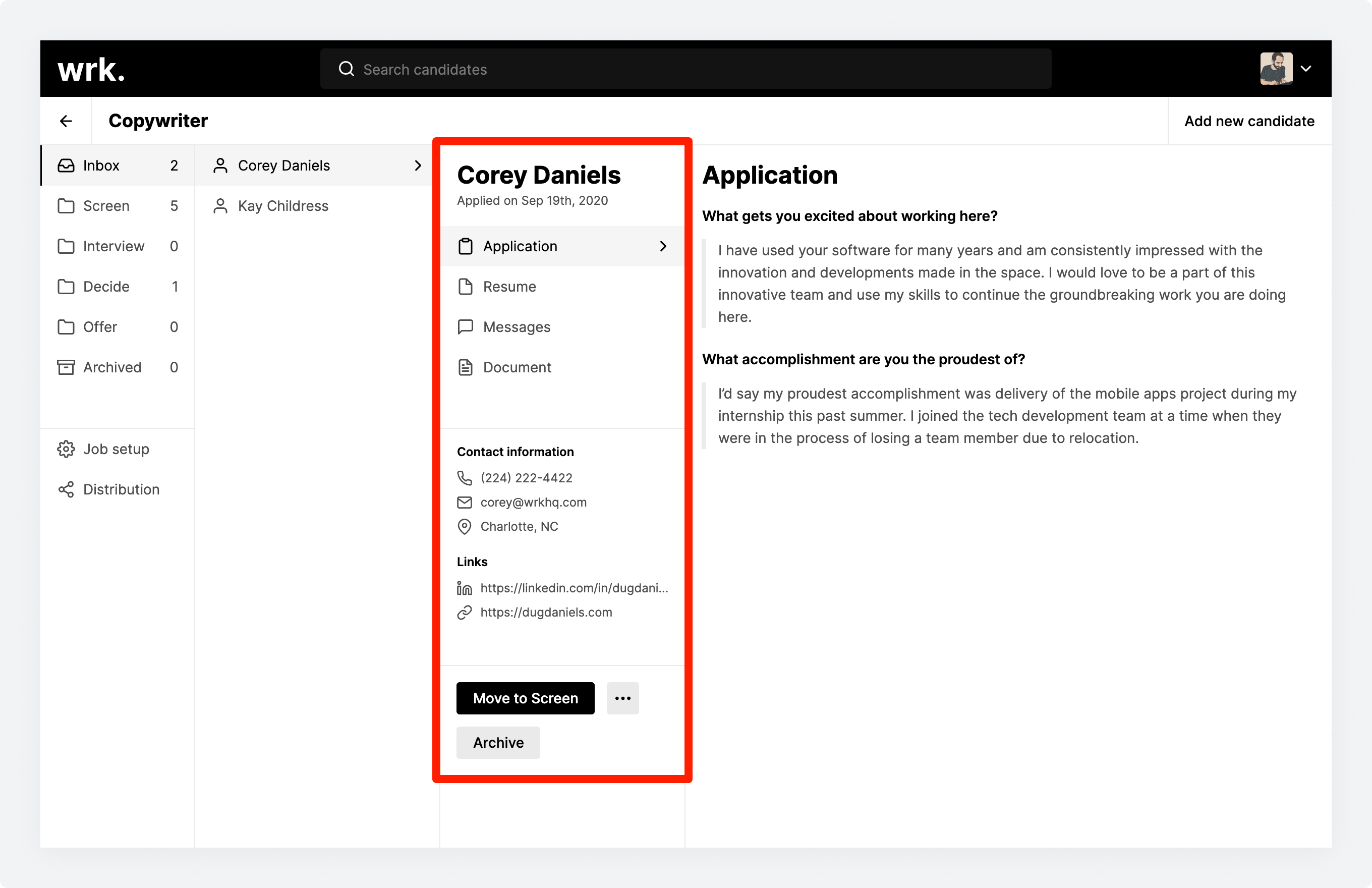 A candidate profile in Wrk with the candidate details highlighted