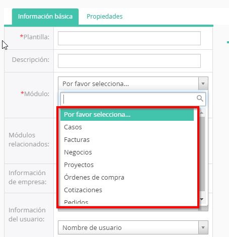 Escoger módulo donde se crea el formato