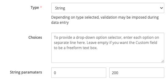 String custom field type