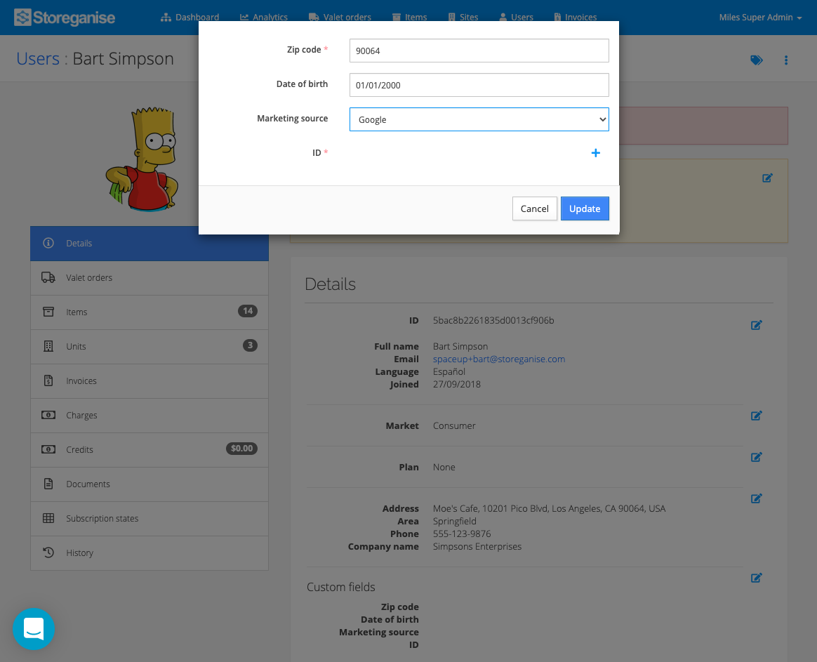 Editing custom fields in the Operations App