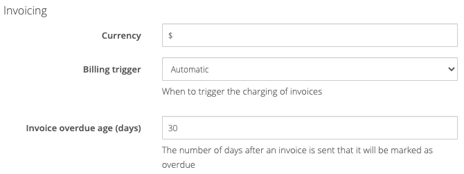 General settings: Invoicing
