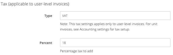 General settings: Tax