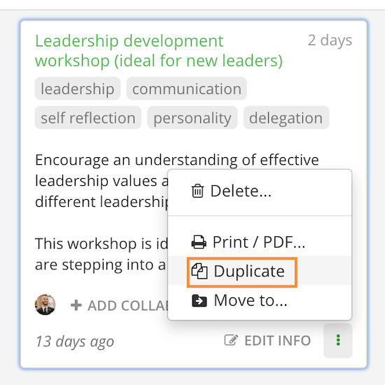 Duplicate session from workspace