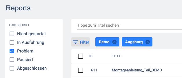 Status Filter Problem im Editor Report Bereich