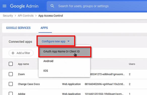 Nombre de la aplicación Oauth o Id de cliente