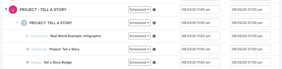 Display of assignments with scheduled dates