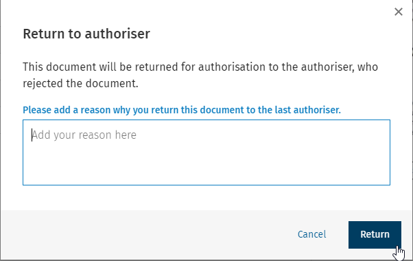Return to authoriser comment section