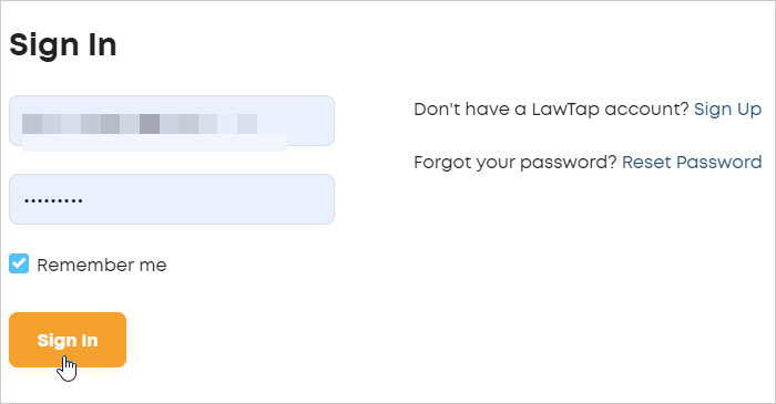 LawTap Sign In form