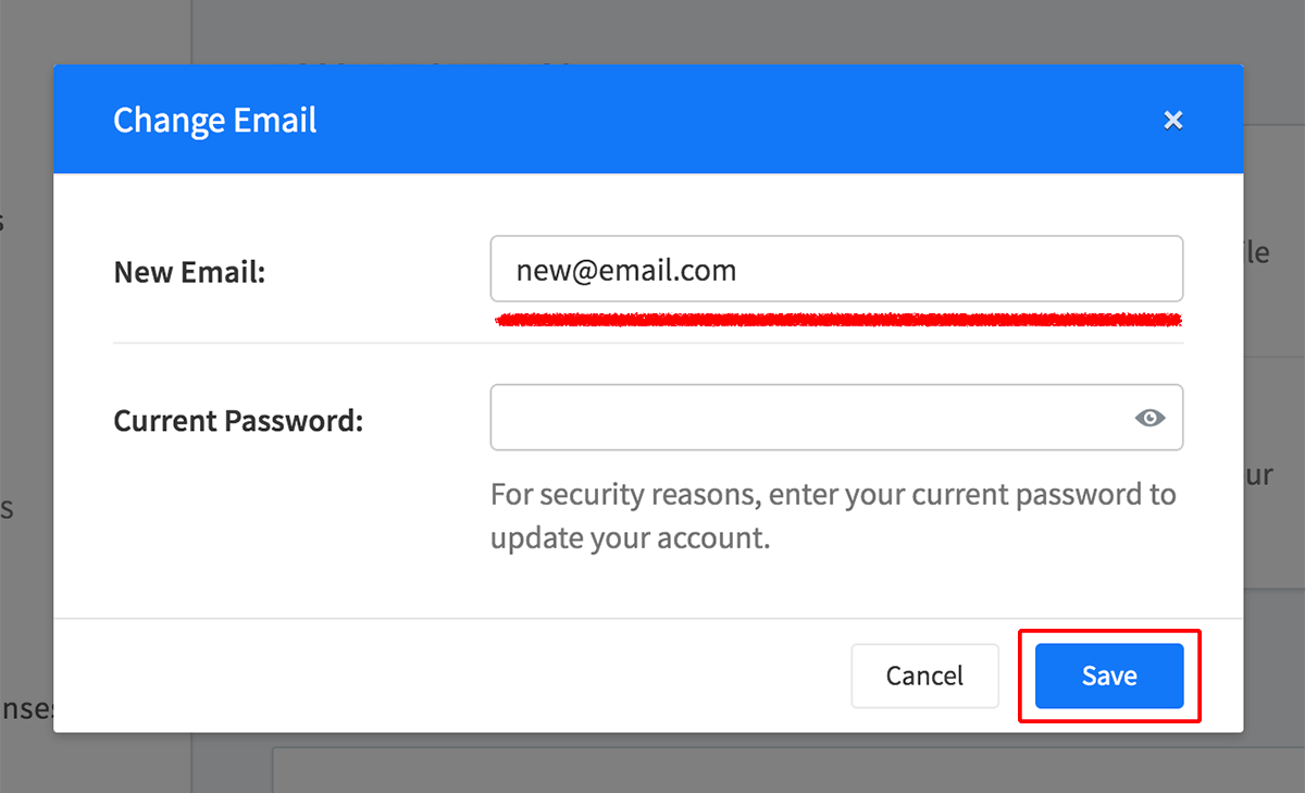 Email change dialog and save button