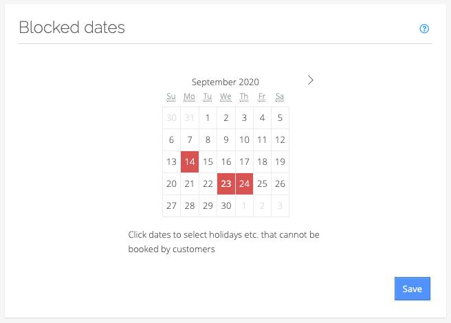 Blocked dates