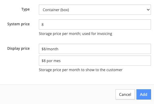 Adding a storage item to a market