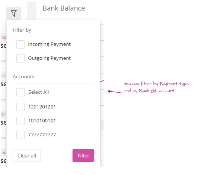 Filter your payments on the Bank transactions feed on the Dashboard