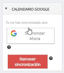 Remover sincronización calendario Google