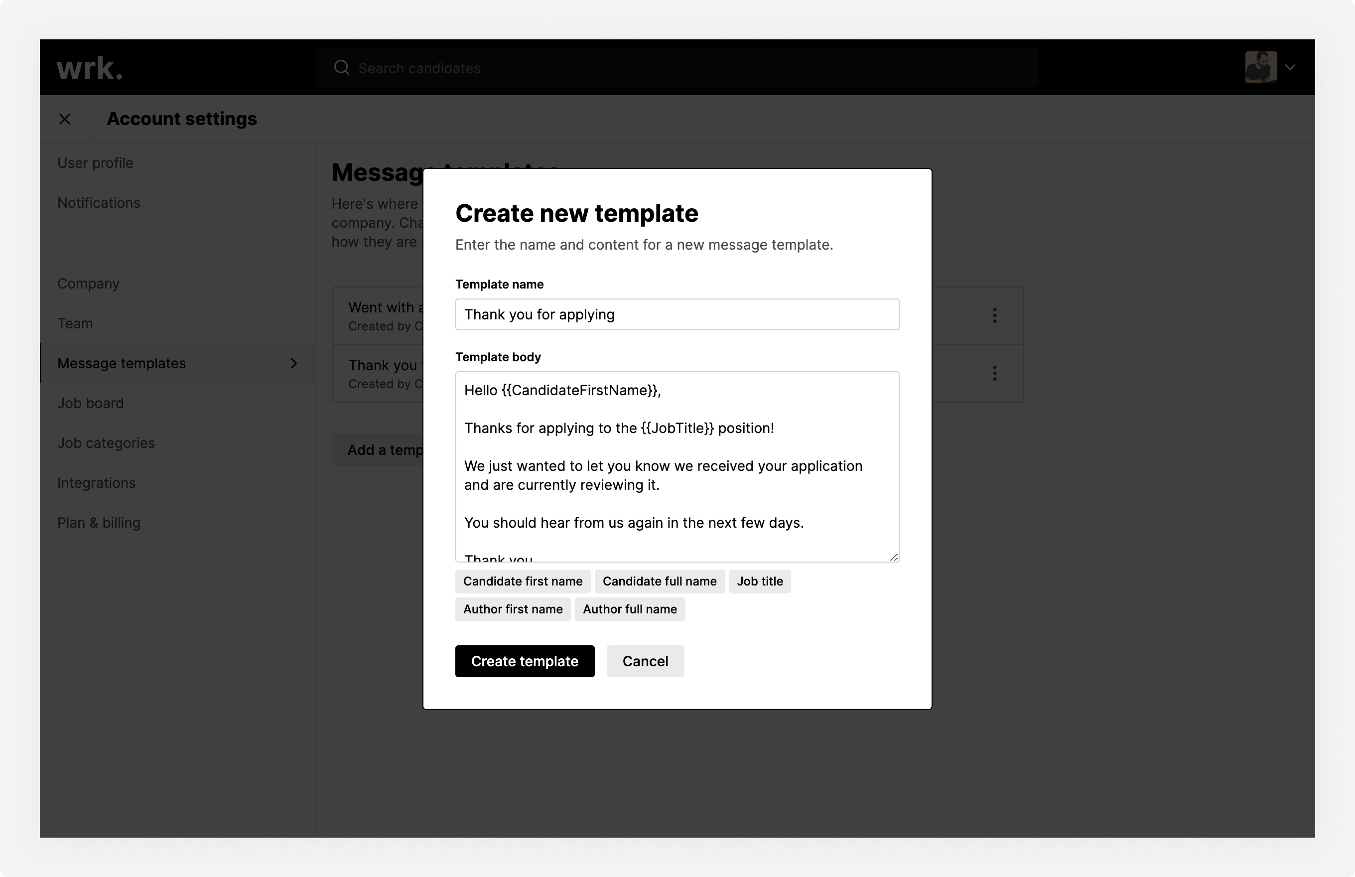 The create new template window in Wrk with template information filled out