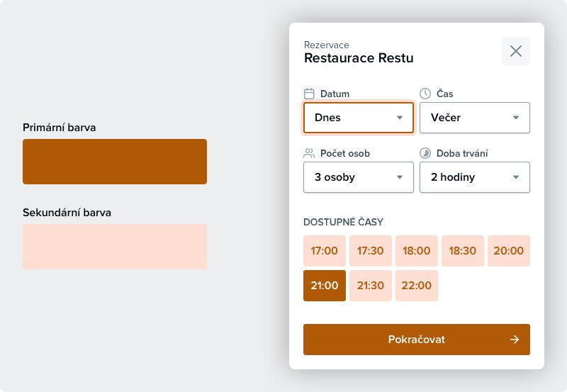 Nastavení barev pro rezervační formulář