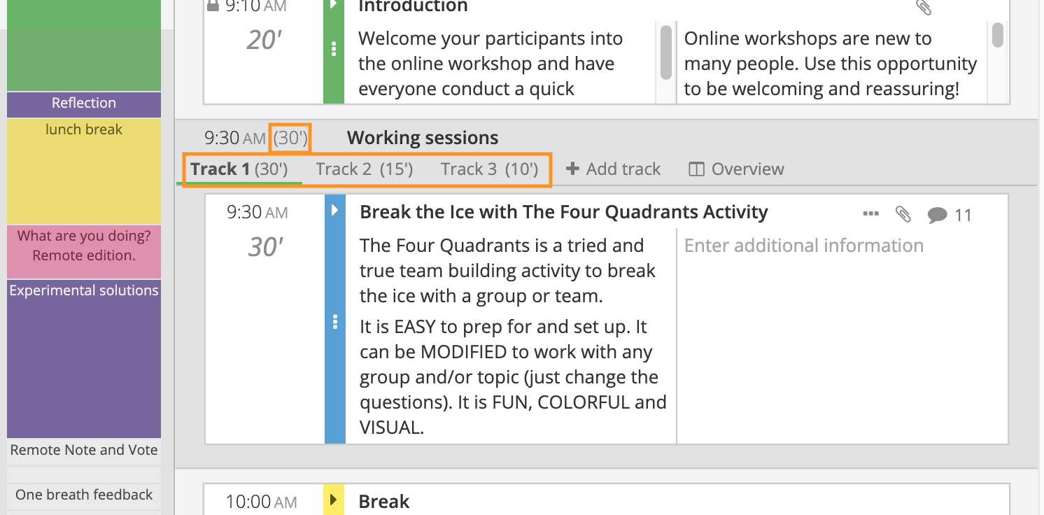 Adjusting the timing of your breakout session