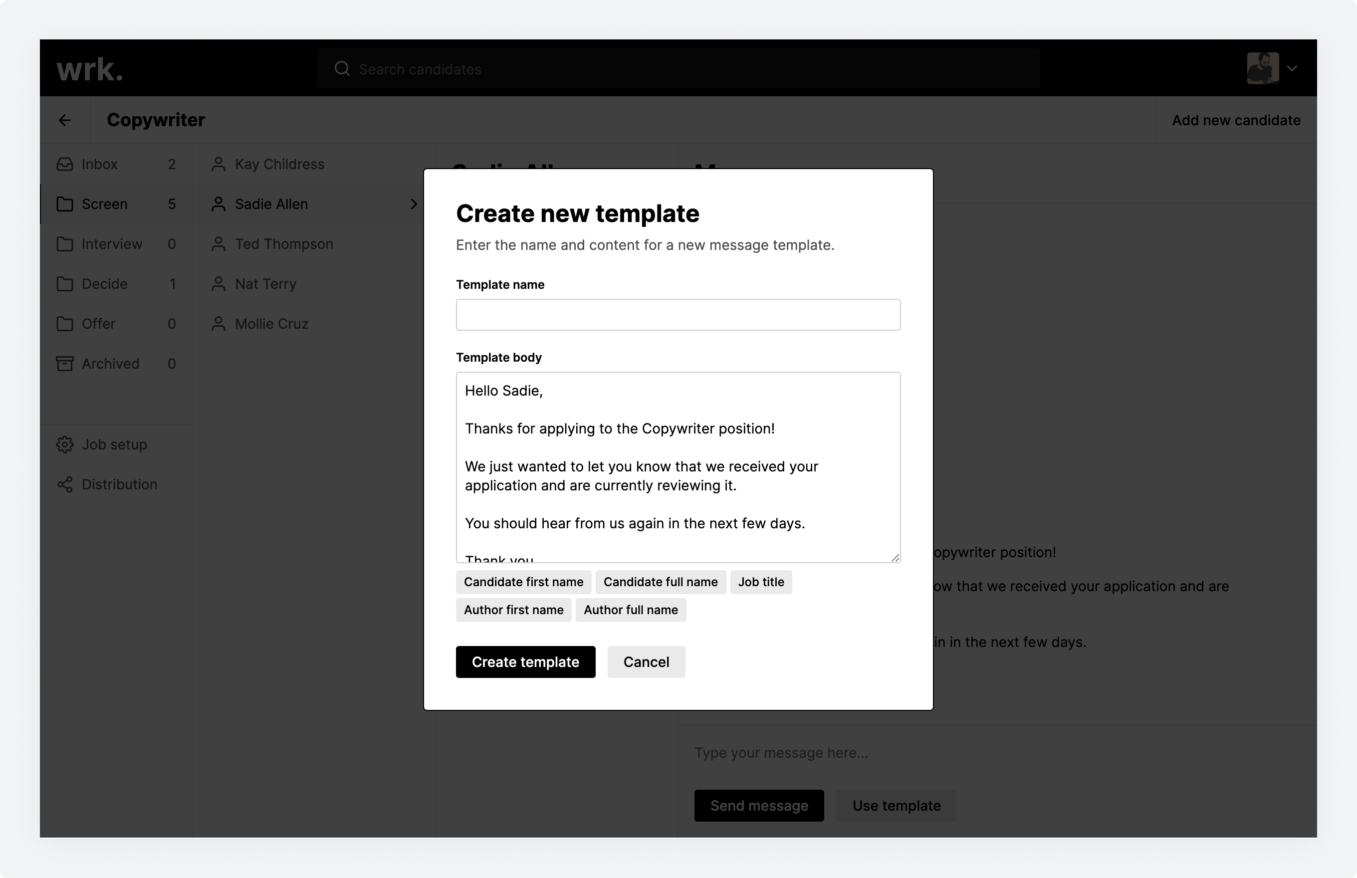The Create new template window displayed from the Messages screen in Wrk