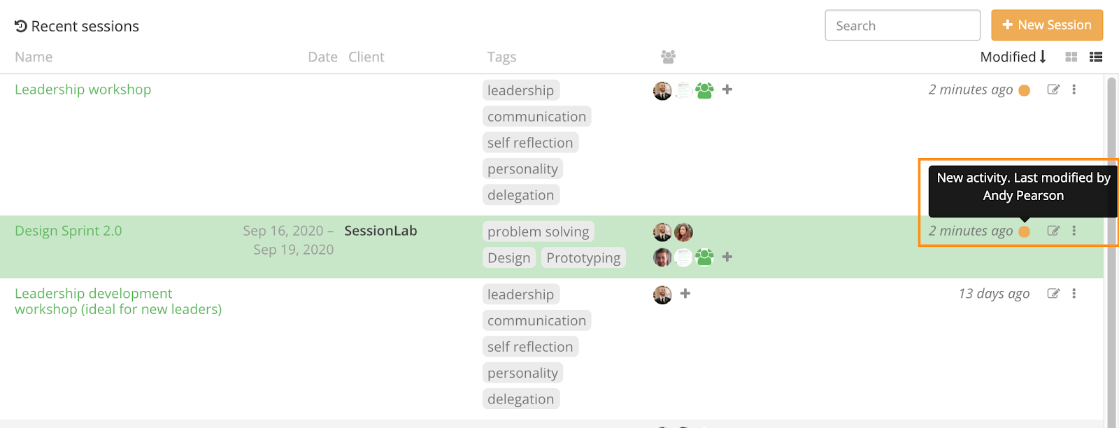 Activity indicator in workspace: list view