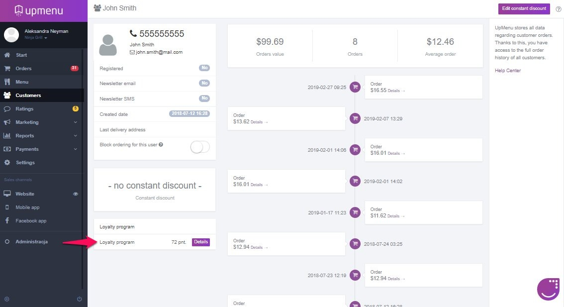Customers details with loyalty points presented