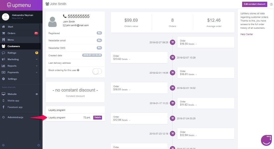 Szczegóły konta klienta z wyeksponowanymi punktami lojalnościowymi