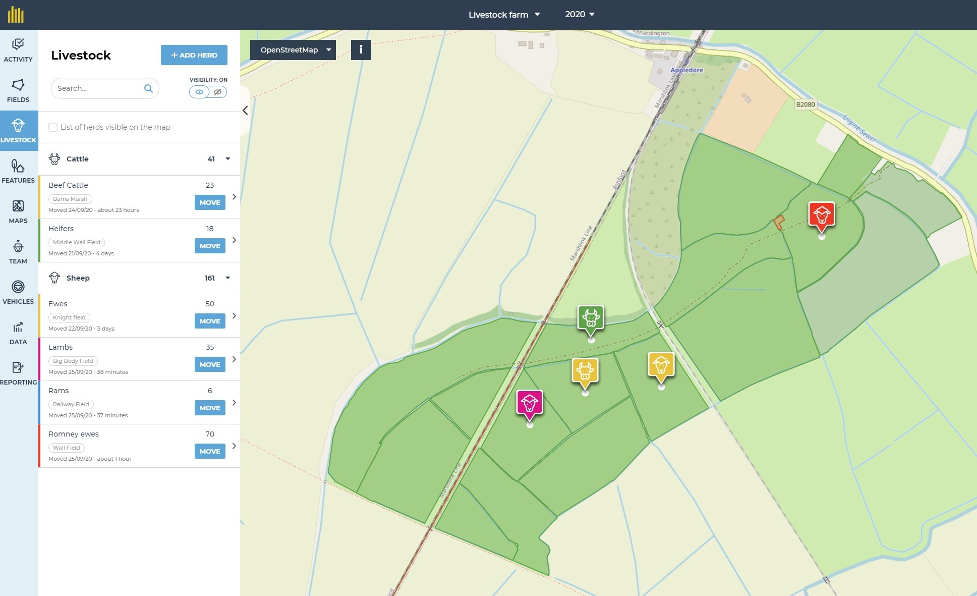 Summary of livestock on farm with total animals and their location on map for desktop