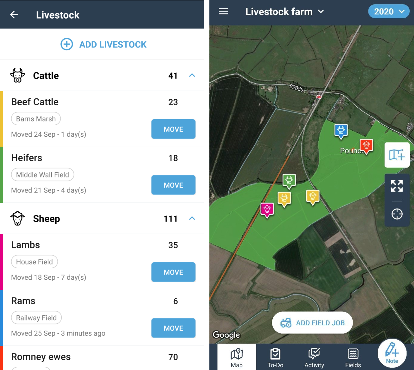 Summary of livestock on farm with total animals and their location on map for phone